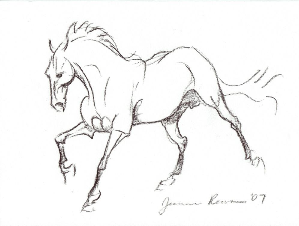 Black crayon sketch of a galloping stallion.