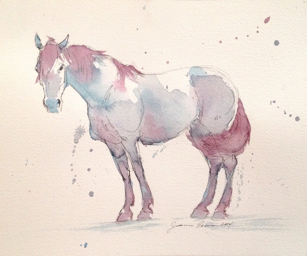 Watercolor and ink sketch of a warmblood horse.