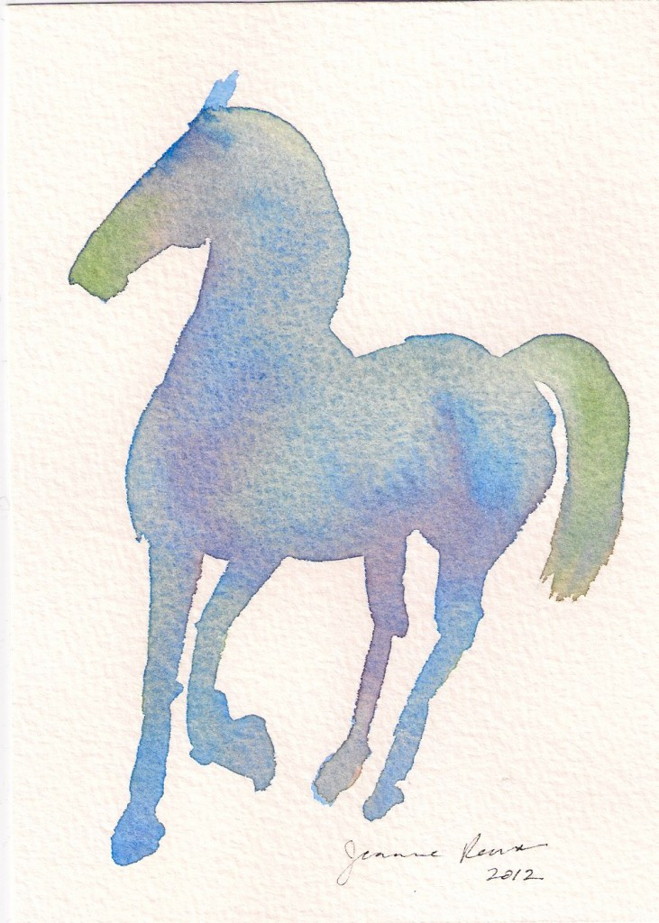 A colorful watercolor sketch of a horse.