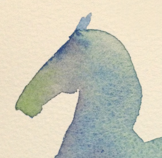 Detail from blue dancing horse showing shades of purple and green.