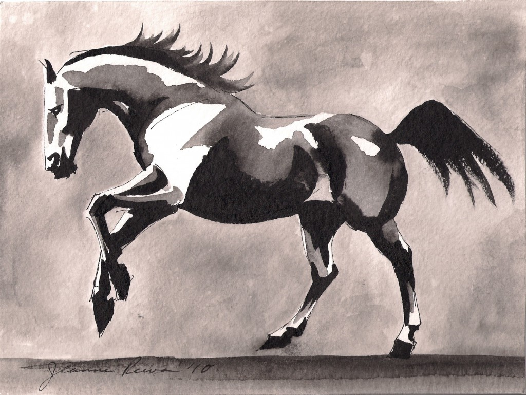 Chinese watercolor and ink sketch of a horse galloping.