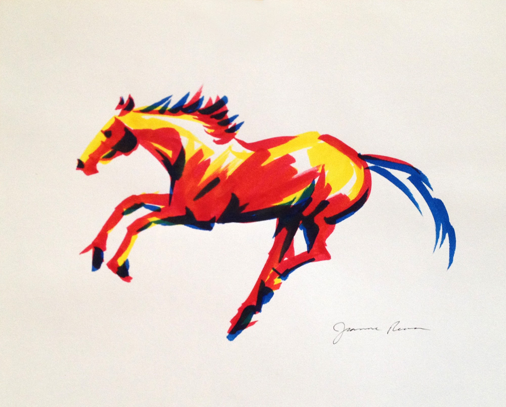 Galloping horse sketched in marker in primary colors.