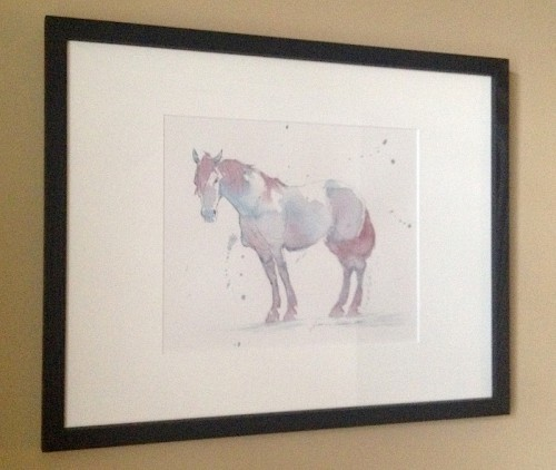 """Purple Horse"" framed.  In simple black wooden frame with a slight wood grain.  External dimensions 15"" x 19""."