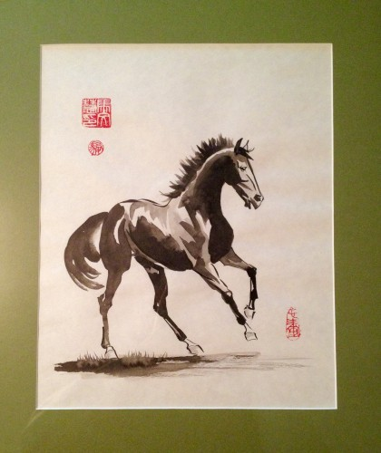 Chinese watercolor painting of a galloping horse with seals.